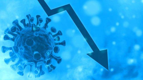 Coronavirus und Pfeil nach unten