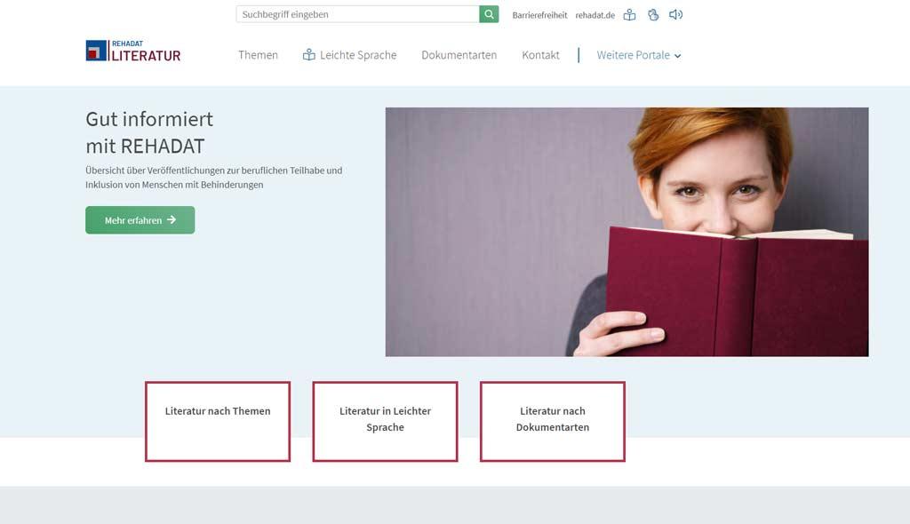 Die neue Startseite von REHADAT Literatur.