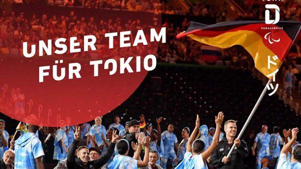 Plakat mit dem deutschen paralympischen Team.
