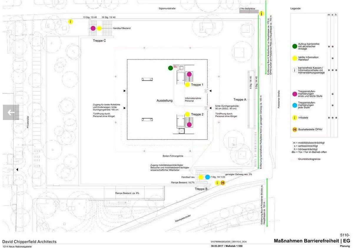 Bauplan mit barrierefreien Vorrichtungen.
