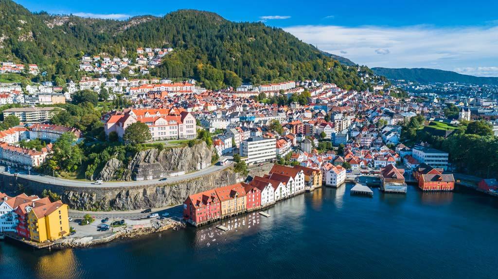 Die Stadt Bergen in Norwegen