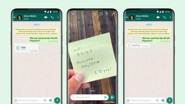 Auf den Bildschirmen von drei Smartphones wird die Funktion näher dargestellt.