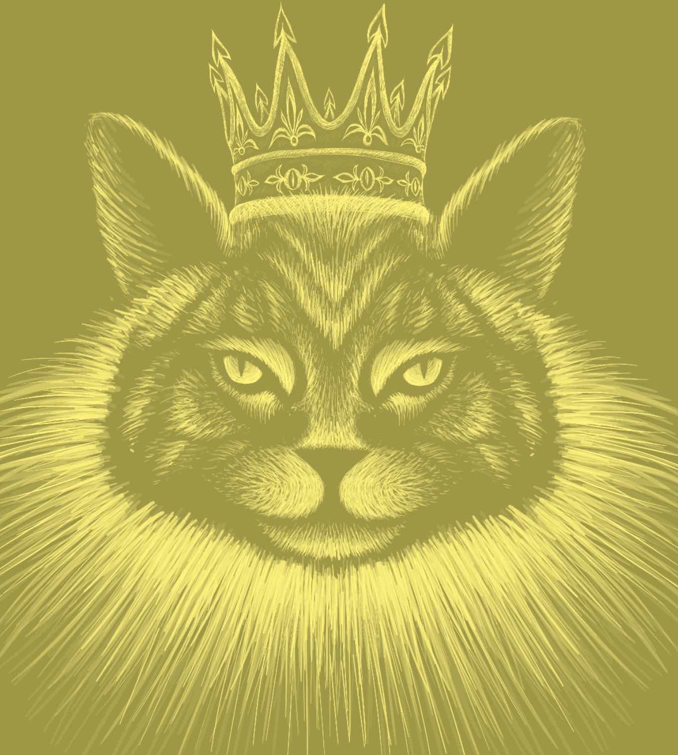 In Gelb-Schwarz gehaltene Illustration einer Katze mit Bart und Krone