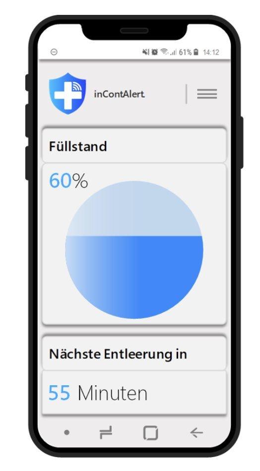 Eine App zeigt den Füllstand der Blase an.