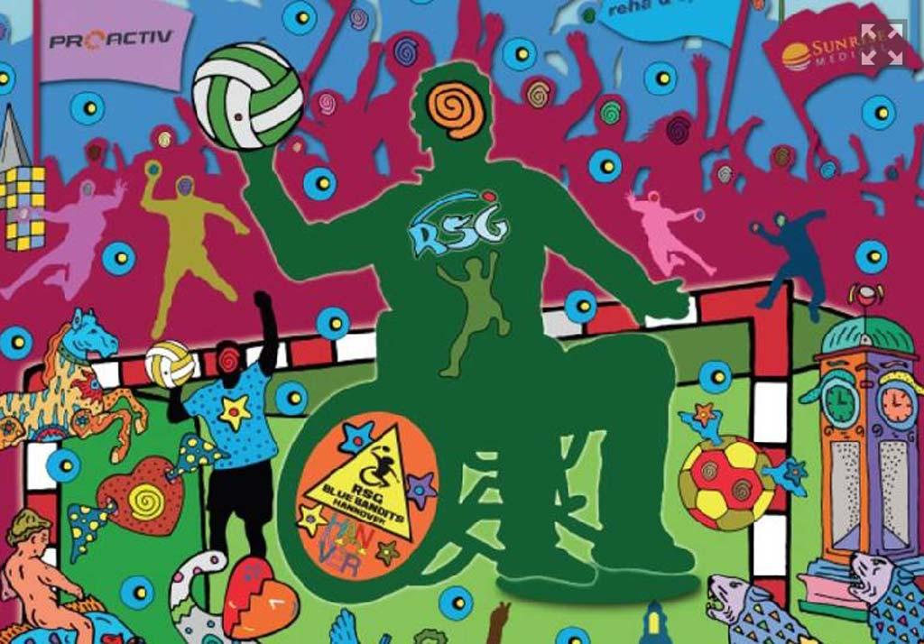Werbegrafik 1. deutsch-holländische Rollstuhlhandball-Meisterschaft