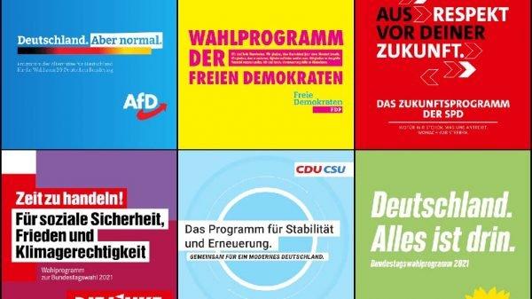 Titelseiten der Wahlprogramme von AfD, FDP, SPD, die Linke, Union und den Grünen