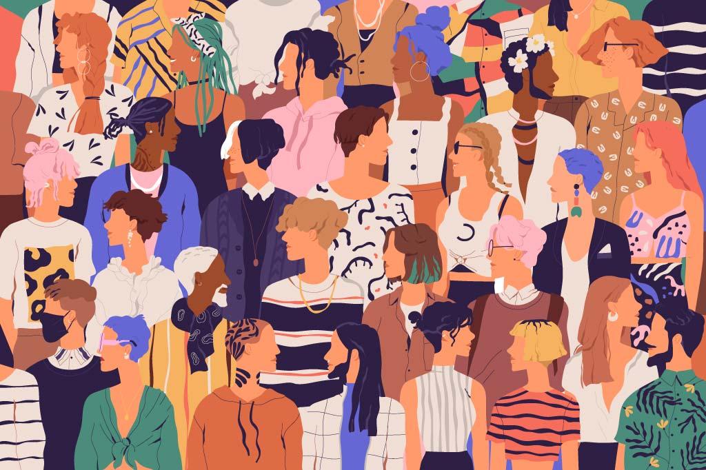 Menschen aller Geschlechter und Hautfarben im Comic-Stil